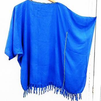 Tunic One Size / Maxi Blouse/ Blue caftan